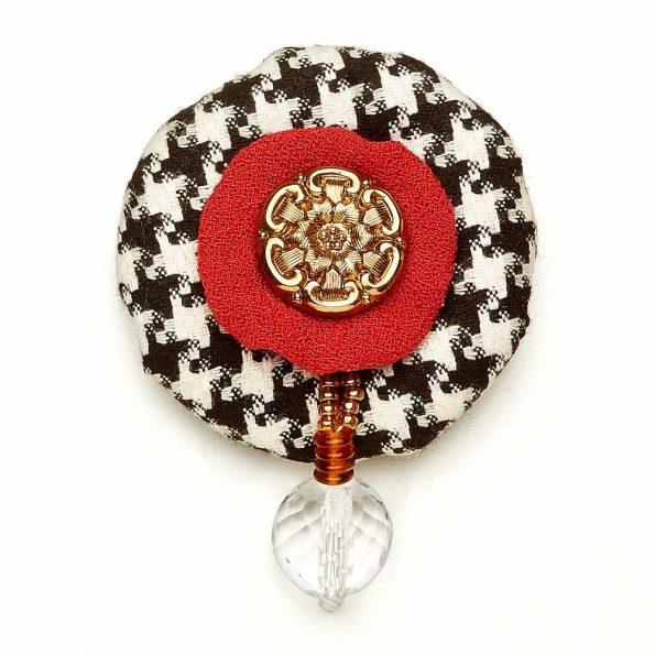 Wool Bonbon Brooch Red Black White Statement Jewelry Textile Fiber Bold Handmade USA Exuberant Wearable Art