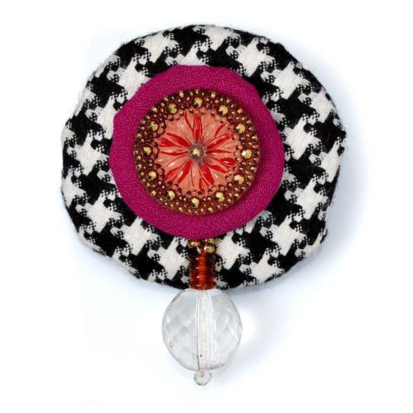 Wool Bonbon Brooch Magenta Black White Statement Jewelry Textile Fiber Bold Handmade USA Exuberant Wearable Art