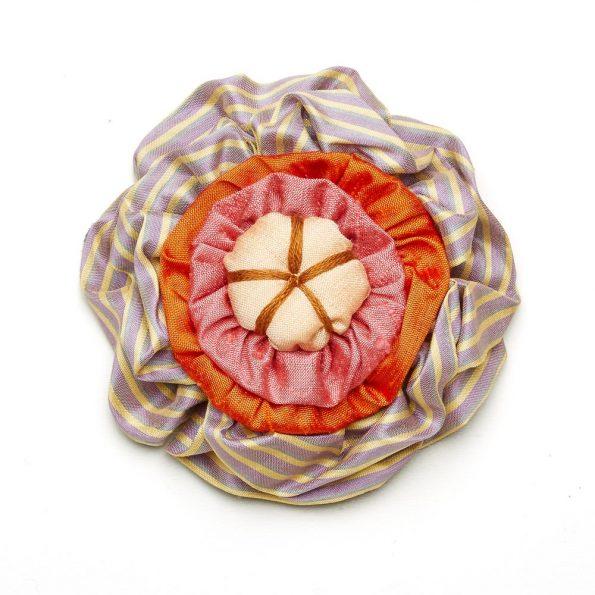 Victorian Silk Brooch Lavender Stripe Orange Pink Statement Jewelry Textile Fiber Bold Handmade USA Exuberant Wearable Art