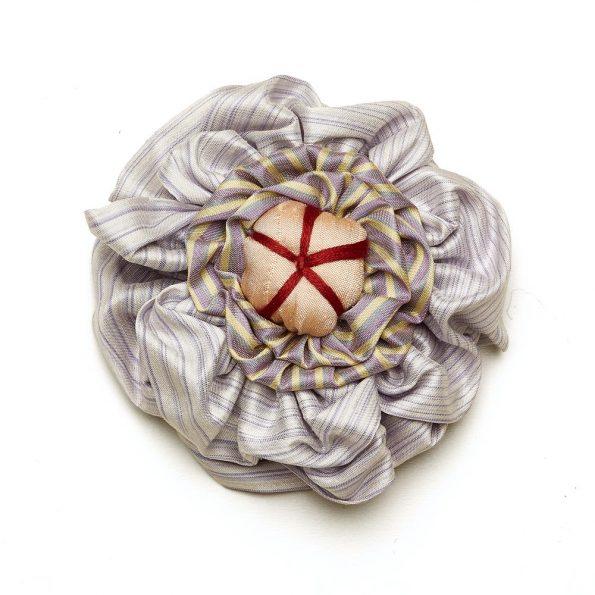 Victorian Silk Brooch Lavender Stripe Red Statement Jewelry Textile Fiber Bold Handmade USA Exuberant Wearable Art