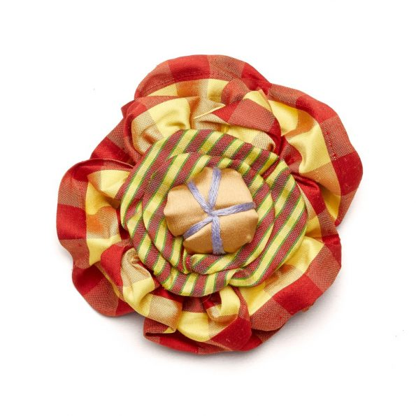 Victorian Silk Brooch Red Yellow Stripe Plaid Lavender Statement Jewelry Textile Fiber Bold Handmade USA Exuberant Wearable Art