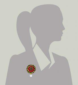 Wool Bonbon Brooch Red Apple Green Statement Jewelry Textile Fiber Bold Handmade USA Exuberant Wearable Art