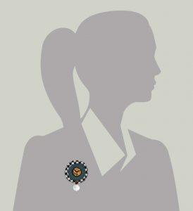 Wool Bonbon Brooch Steel Black White Statement Jewelry Textile Fiber Bold Handmade USA Exuberant Wearable Art