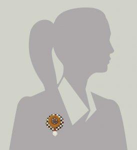 Wool Bonbon Brooch Tan Black White Statement Jewelry Textile Fiber Bold Handmade USA Exuberant Wearable Art