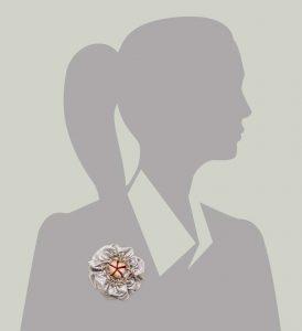 Victorian Silk Brooch Lavender Red Stripe Statement Jewelry Textile Fiber Bold Handmade USA Exuberant Wearable Art