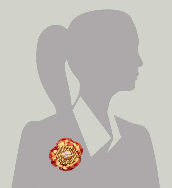Victorian Silk Brooch Red Yellow Stripe Plaid Statement Jewelry Textile Fiber Bold Handmade USA Exuberant Wearable Art